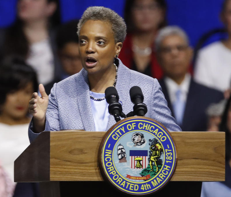 Chicago Mayor Lori Lightfoot speaks during her inauguration ceremony in May. (Photo: Jim Young/AP)