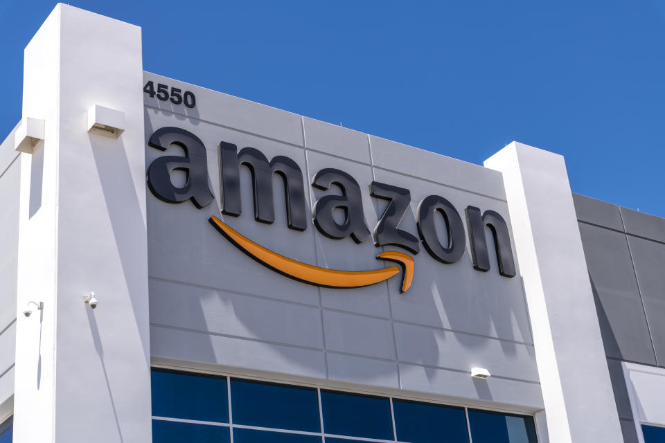 Las Vegas,Nevada, United States - June 18, 2020: Amazon fulfillment center exterior shot in North Las Vegas Nevada USA . Amazon is the most famous on-line shopping company in the world.
