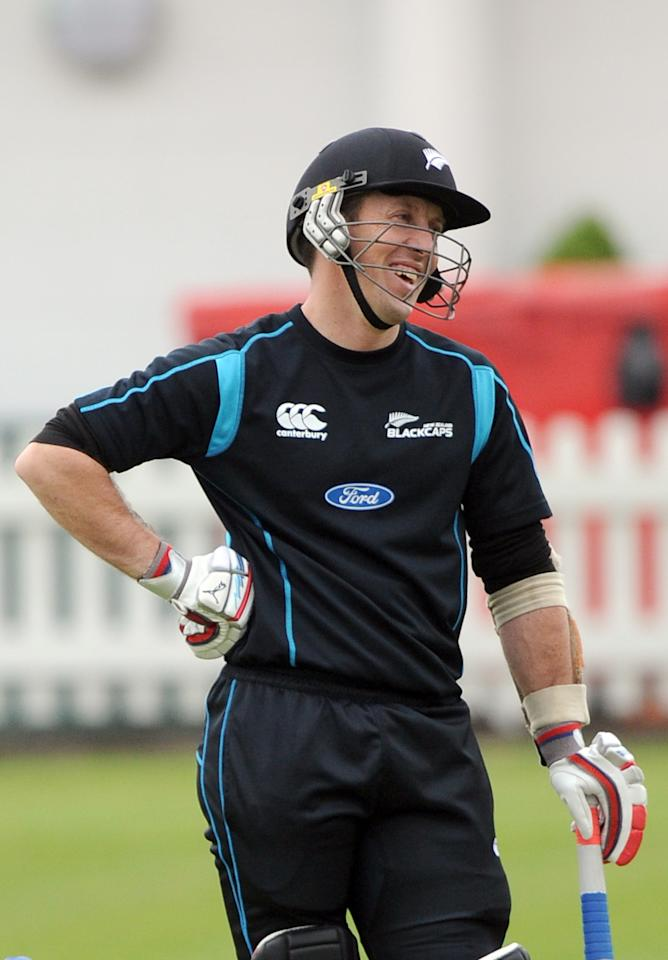 New Zealand's Luke Ronchi laughs during a nets session at Lord's Cricket Ground, London.