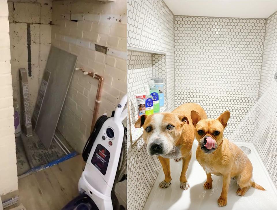 A woman has transformed her garage into a luxury dog shower. (@homestuffonly and Drench)