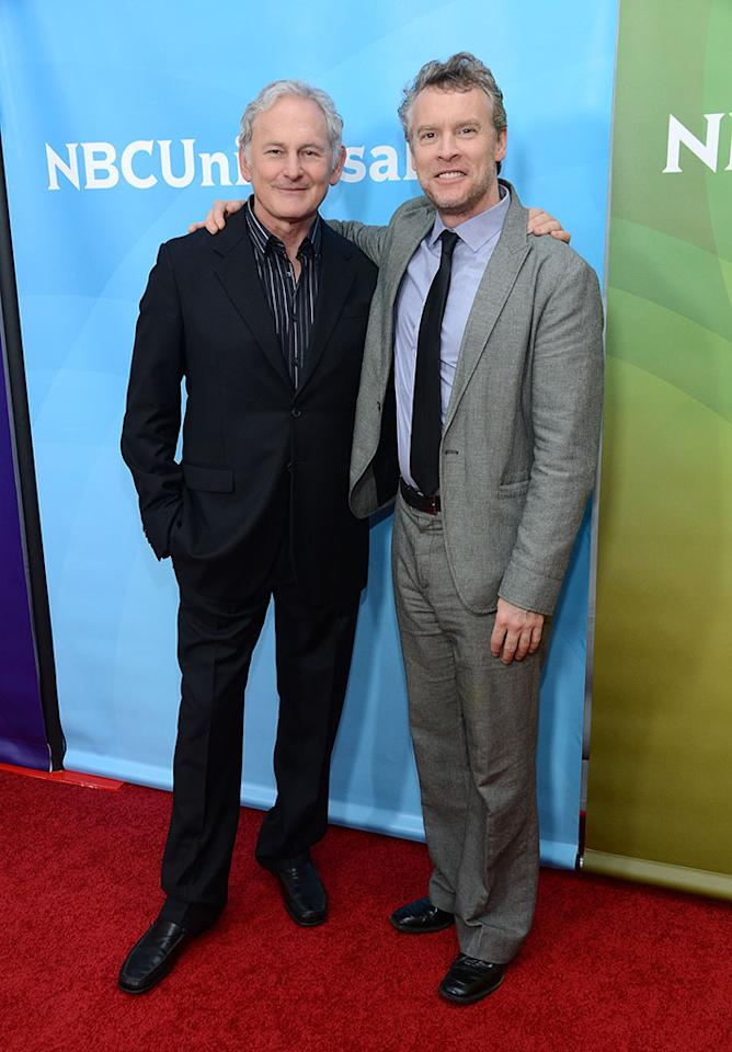 "Victor Garber and Tate Donovan attend NBCUniversal's ""2013 Winter TCA Tour"" Day 1 at Langham Hotel on January 6, 2013 in Pasadena, California."