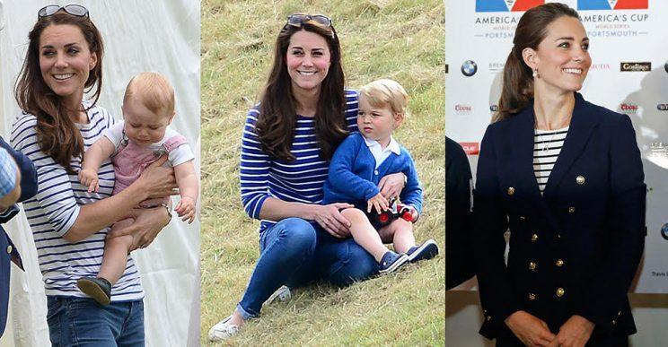 Kate Middleton wears her striped shirts on three different occasions. (Photo: Splash News/Getty Images)