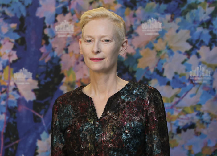 Tilda Swinton poses for photographers at the photo call for the film 'The Souvenir- Part II' at the 74th international film festival, Cannes, southern France, Thursday, July 8, 2021. (Photo by Vianney Le Caer/Invision/AP)