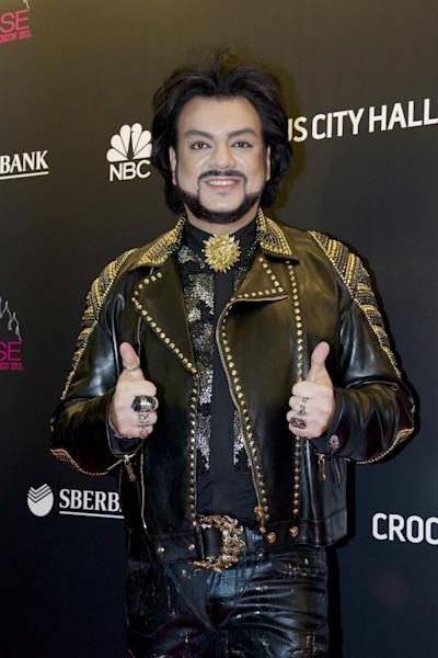 FILE - In this Saturday, Nov. 9, 2013, file photo, Russian pop singer Filipp Kirkorov arrives for the final of the 2013 Miss Universe pageant in Moscow, Russia. French composer Didier Marouani and his Russian lawyer Igor Trunov have been detained Tuesday, Nov. 29, 2016 and spent a night in a Moscow police station after Russian pop star Filipp Kirkorov has accused them of extorting 1 million euros from him in a plagiarism row. (AP Photo/Ivan Sekretarev, File)