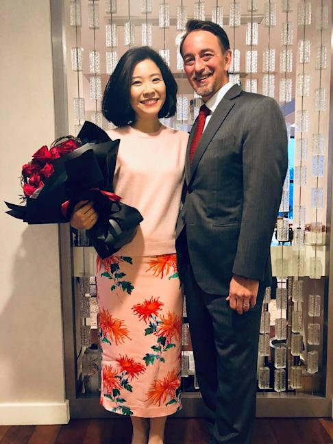Tzu-i Chuang, who has a sizeable following on social media, with her husband, US consul general Jim Mullinax. Photo: Facebook