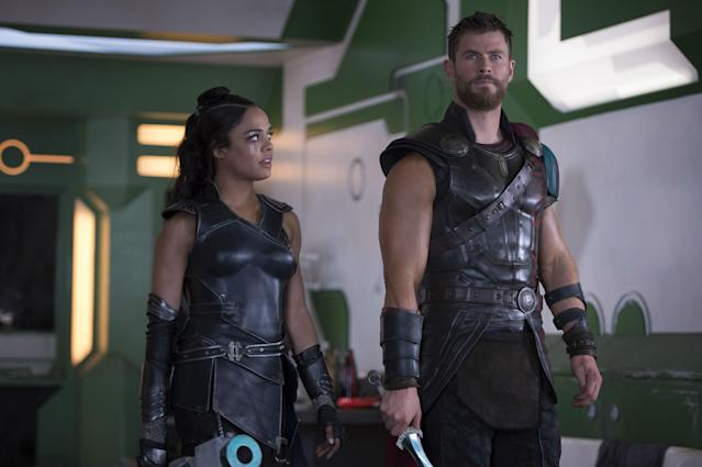 Tessa Thompson as Valkyrie and Chris Hemsworth as Thor in <em>Thor: Ragnarok</em>. (Photo: Marvel Studios)
