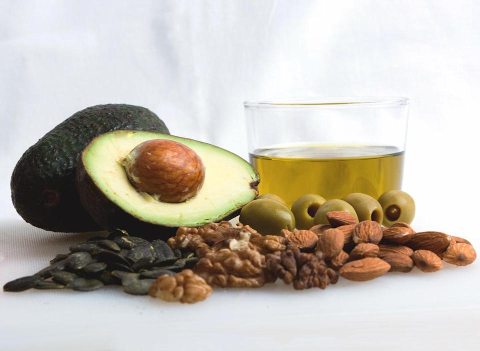 Plant based healthy fats like avocado olive oil nuts seeds