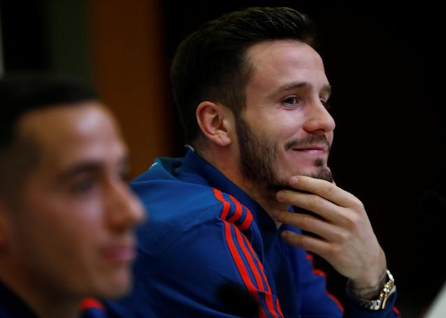 Soccer Football - Spain Press Conference - Las Rozas, Spain - March 24, 2018 Spain's Saul Niguez and Lucas Vazquez during the press conference REUTERS/Juan Medina
