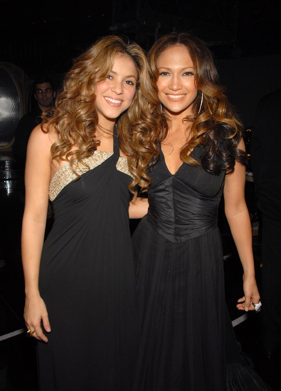 (EXCLUSIVE, Premium Rates Apply) Shakira and Jennifer Lopez **Exclusive Coverage** (Photo by Theo Wargo/WireImage for The Recording Academy)