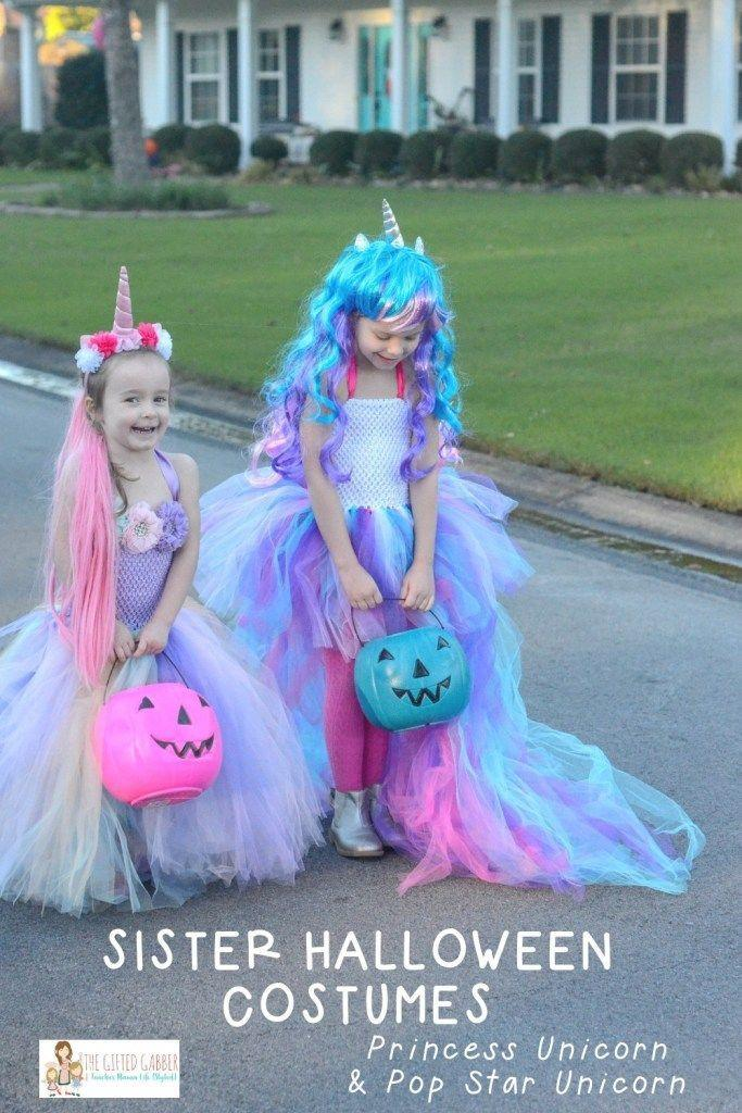 """<p>The only thing better than a colorful, mythical creature costume? <em>Two</em> rainbow unicorn costumes, both with matching trick-or-treating pumpkins. </p><p><strong>Get the tutorial at <a href=""""https://thegiftedgabber.com/unicorn-halloween-costumes/"""" rel=""""nofollow noopener"""" target=""""_blank"""" data-ylk=""""slk:The Gifted Gabber"""" class=""""link rapid-noclick-resp"""">The Gifted Gabber</a>. </strong></p><p><strong><a class=""""link rapid-noclick-resp"""" href=""""https://www.amazon.com/Lemoncy-Headband-Birthday-Accessory-Decoration/dp/B076KR9QDV/?tag=syn-yahoo-20&ascsubtag=%5Bartid%7C10050.g.21530121%5Bsrc%7Cyahoo-us"""" rel=""""nofollow noopener"""" target=""""_blank"""" data-ylk=""""slk:SHOP UNICORN HEADBANDS"""">SHOP UNICORN HEADBANDS</a><br></strong></p>"""