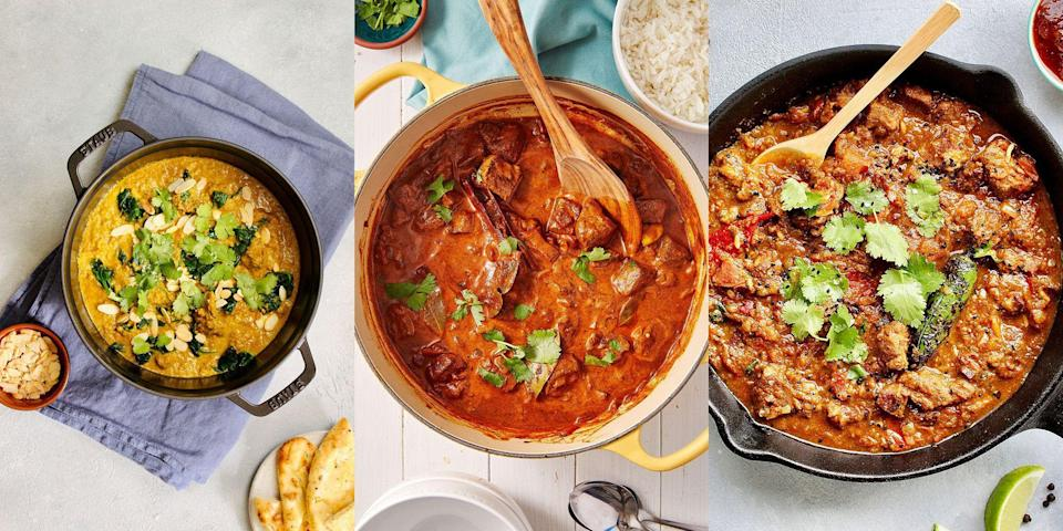 """<p>We ourselves a lamb <a href=""""https://www.delish.com/uk/cooking/recipes/a35761653/chicken-katsu-curry/"""" rel=""""nofollow noopener"""" target=""""_blank"""" data-ylk=""""slk:curry"""" class=""""link rapid-noclick-resp"""">curry</a>. Whether it's a <a href=""""https://www.delish.com/uk/cooking/recipes/a29577698/lamb-rogan-josh/"""" rel=""""nofollow noopener"""" target=""""_blank"""" data-ylk=""""slk:Lamb Rogan Josh"""" class=""""link rapid-noclick-resp"""">Lamb Rogan Josh</a>, <a href=""""https://www.delish.com/uk/cooking/recipes/a33642009/lamb-karahi/"""" rel=""""nofollow noopener"""" target=""""_blank"""" data-ylk=""""slk:Lamb Karahi"""" class=""""link rapid-noclick-resp"""">Lamb Karahi</a> or <a href=""""https://www.delish.com/uk/cooking/recipes/a30295014/lamb-biryani/"""" rel=""""nofollow noopener"""" target=""""_blank"""" data-ylk=""""slk:Lamb Biryani"""" class=""""link rapid-noclick-resp"""">Lamb Biryani</a>, there's nothing like coming home from work to a fragrant, melt-in-your-mouth and incredibly tasty curry for dinner. Perfect paired with a bowl of freshly-cooked <a href=""""https://www.delish.com/uk/cooking/recipes/a29484612/pilau-rice/"""" rel=""""nofollow noopener"""" target=""""_blank"""" data-ylk=""""slk:pilau rice"""" class=""""link rapid-noclick-resp"""">pilau rice</a> alongside a crispy-yet-soft <a href=""""https://www.delish.com/uk/cooking/recipes/a29455921/naan-bread/"""" rel=""""nofollow noopener"""" target=""""_blank"""" data-ylk=""""slk:naan bread"""" class=""""link rapid-noclick-resp"""">naan bread</a> and finished with a few <a href=""""https://www.delish.com/uk/cooking/recipes/a31188763/onion-bhajis/"""" rel=""""nofollow noopener"""" target=""""_blank"""" data-ylk=""""slk:onion bhajis"""" class=""""link rapid-noclick-resp"""">onion bhajis</a>. Sounds heavenly, right? Not only that, curries like this are perfect for an easy dinner with friends, or to <a href=""""https://www.delish.com/uk/cooking/recipes/g31665635/batch-cooking-recipes/"""" rel=""""nofollow noopener"""" target=""""_blank"""" data-ylk=""""slk:batch cook"""" class=""""link rapid-noclick-resp"""">batch cook</a> and freeze at a later date. So... here are some lamb curry recipes we can't live without! </p><p>L"""
