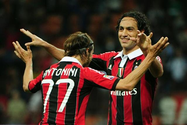 Alessadnro Nesta (R), pictured in 2012, was one of the greatest defenders of his generation, starting his career with boyhood club Lazio and also playing with AC Milan