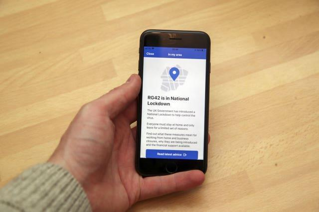 The NHS Track and Trace app on a mobile phone