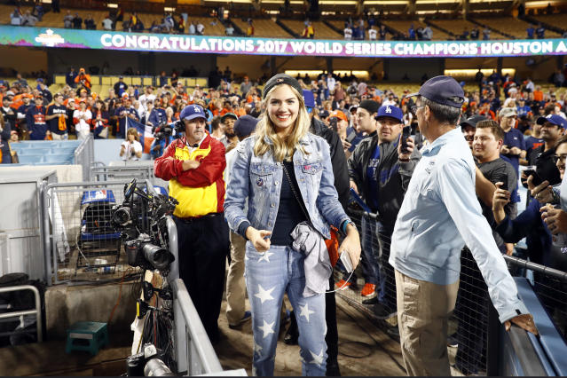 <p>Kate Upton a looks on after the Astros defeated the Los Angeles Dodgers in Game 7 of the 2017 World Series at Dodger Stadium on Wednesday, November 1, 2017 in Los Angeles, California. (Photo by Rob Tringali/MLB Photos via Getty Images) </p>