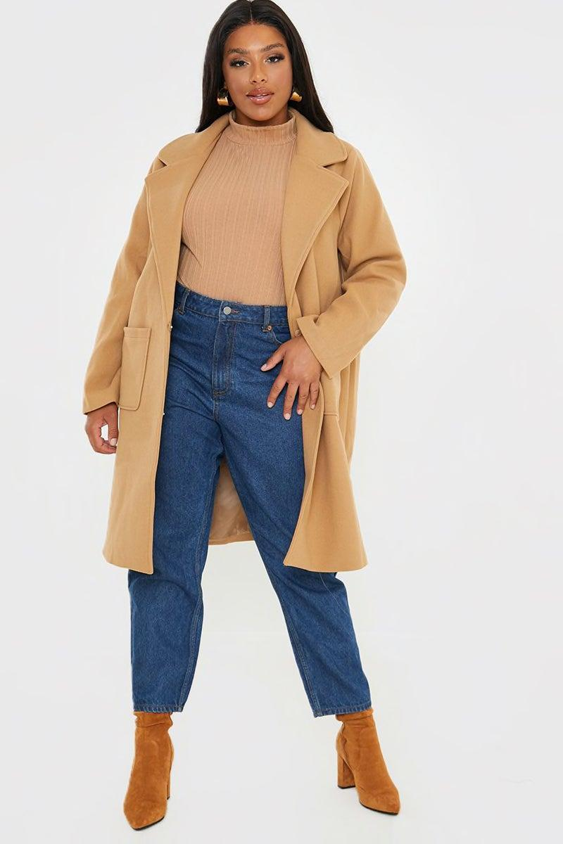"""<br><br><strong>In The Style</strong> Curve Camel Faux Wool Boyfriend Jacket, $, available at <a href=""""https://www.inthestyle.com/curve-camel-faux-wool-boyfriend-jacket"""" rel=""""nofollow noopener"""" target=""""_blank"""" data-ylk=""""slk:In The Style"""" class=""""link rapid-noclick-resp"""">In The Style</a>"""