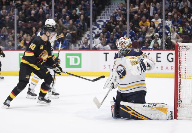 Buffalo Sabres goalie Carter Hutton, right, looks on after allowing the winning goal to Vancouver Canucks' J.T. Miller (not shown) while Elias Pettersson, of Sweden, celebrates during overtime of an NHL hockey game in Vancouver, British Columbia, Saturday, Dec. 7, 2019. (Darryl Dyck/The Canadian Press via AP)