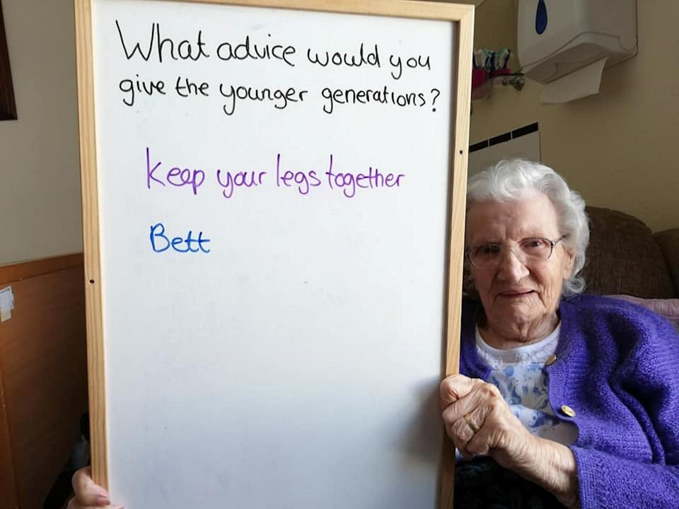 Care home resident Bett had just one piece of advice. (SWNS)