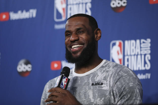 LeBron James discusses his future Thursday at NBA Finals media availability. (AP)