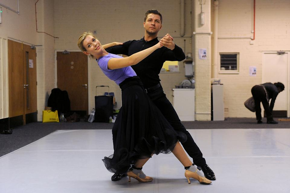 Rachel Riley and Pasha Kovalev rehearse their waltz at Ace Dance & Music, Birmingham ahead of their first dance on Strictly Come dancing.   (Photo by Joe Giddens/PA Images via Getty Images)
