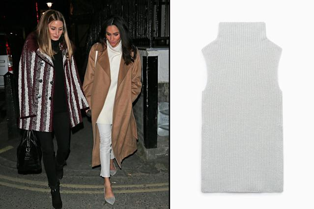"<p>In March 2015, Markle wore a sleeveless knit sweater by Aritzia, pairing it with an oversize tan coat and skinny trousers. Although the light gray version is sold out, you can still shop the same merino wool knit in black or peach. (Photo: Splash; courtesy of Aritzia)<br>Shop black or peach version: Aritzia Wilfred Durandal Sweater, $63, <a href=""https://us.aritzia.com/product/durandal-sweater/52998.html"" rel=""nofollow noopener"" target=""_blank"" data-ylk=""slk:aritzia.com"" class=""link rapid-noclick-resp"">aritzia.com </a> </p>"