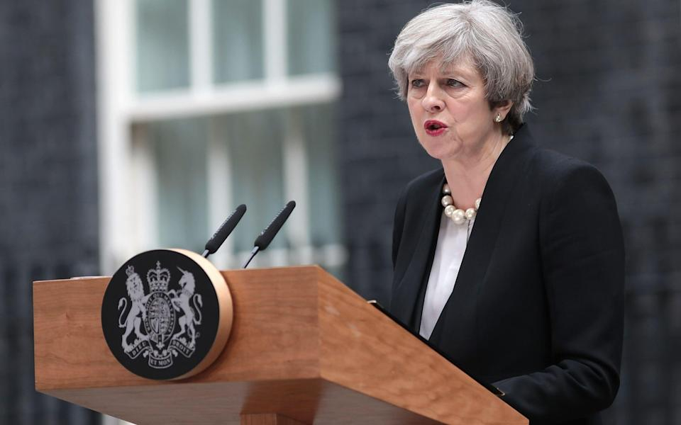 Theresa May speaking outside Downing Street on Tuesday morning - Credit: Jack Taylor/Getty