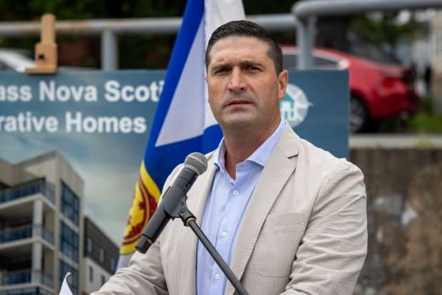 Housing Minister Geoff MacLellan speaks at a July 6 event announcing the province will spend $25 million to help address the immediate recommendations made by the Nova Scotia Affordable Housing Commission.  (Robert Short/CBC - image credit)