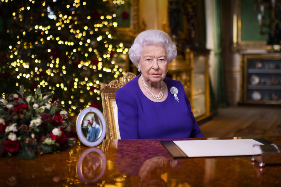 The Queen recorded her annual Christmas message last year with just a photo of Prince Philip by her side. Photo: Getty