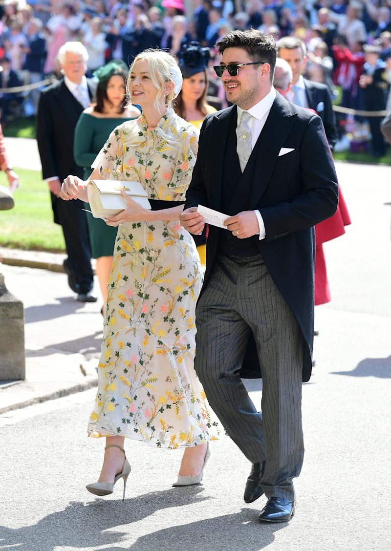 The Oscar nominee and Mumford And Sons frontman were seen arm in arm on the morning of Harry and Meghan's wedding.