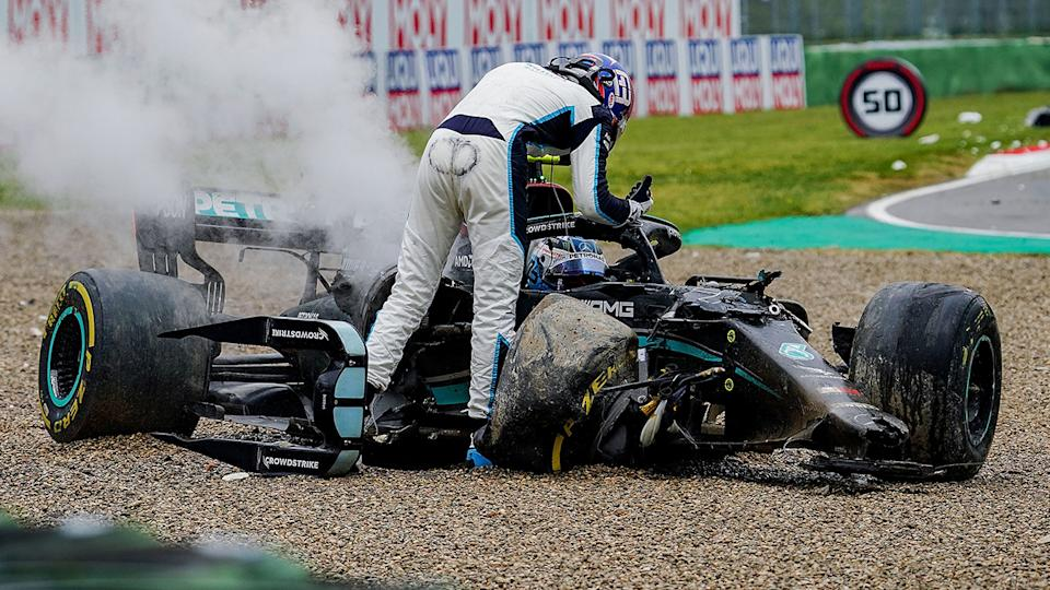 Williams driver George Russell confronted Mercedes rival Vatteri Bottas after the pair crashed out of the Emilia Romagna GP on Sunday. (Photo by Hasan Bratic/picture alliance via Getty Images)