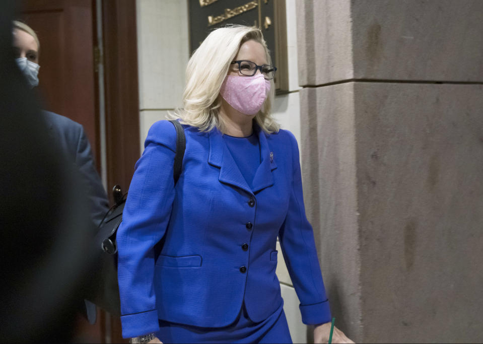 Rep. Liz Cheney, R-Wyo., arrives as House GOP members meet to decide whether she should be removed from her leadership role as chair of the Republican Conference after she repeatedly rebuked former President Donald Trump for his false claims of election fraud and his role in instigating the Jan. 6 U.S. Capitol attack, at the Capitol in Washington, Wednesday, May 12, 2021. (AP Photo/J. Scott Applewhite)