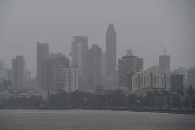 General view of Mumbai on June 3, 2020 as cyclone Nisarga barrels towards India's western coast. (Photo by PUNIT PARANJPE/AFP via Getty Images)