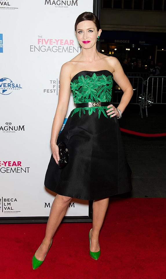"""Did Emily Blunt look matronly or magnificent in this Jason Wu dress and Alice + Olivia pumps at the New York premiere of her new rom-com, """"The Five Year Engagement""""? I'm on the fence and need your help. (4/18/2012)"""