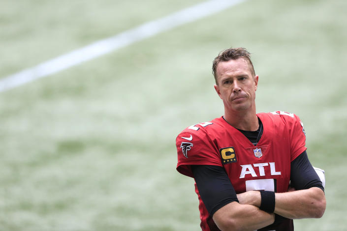 ATLANTA, GA - OCTOBER 25:  Quarterback Matt Ryan (2) of the Atlanta Falcons watches the last 30 seconds of the week 7 NFL game between the Atlanta Falcons and the Detroit Lions on October 25, 2020 at Mercedes-Benz Stadium in Atlanta, Georgia.  (Photo by David John Griffin/Icon Sportswire via Getty Images)