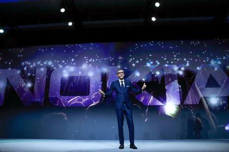 Rajeev Suri, Nokia's President and Chief Executive Officer, speaks during the Mobile World Congress in Barcelona, Spain February 25, 2018. REUTERS/Yves Herman