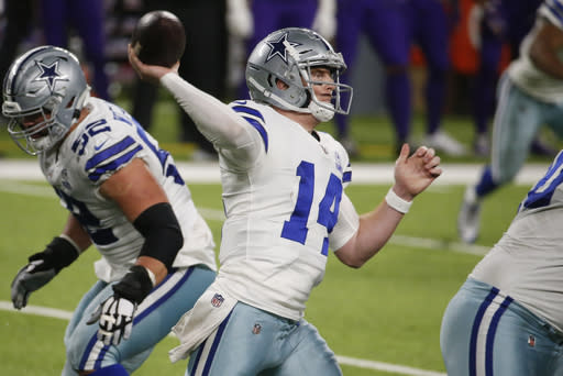 Dallas Cowboys quarterback Andy Dalton throws a pass during the second half of an NFL football game against the Minnesota Vikings, Sunday, Nov. 22, 2020, in Minneapolis. The Cowboys won 31-28. (AP Photo/Bruce Kluckhohn)