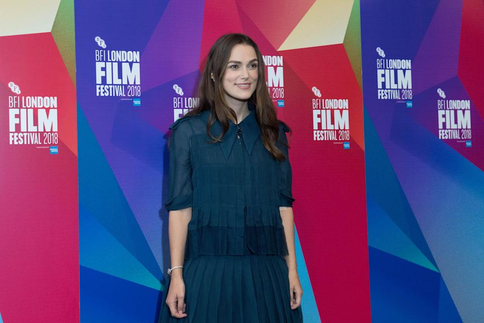 Actress Keira Knightly arrives to host a talk at the British Film Institute Film Festival on London's Southbank to mark women's contribution to the UK Film Industry. (Photo by Stefan Rousseau/PA Images via Getty Images)