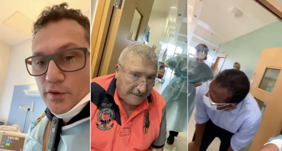 Joe McCarron (centre) died after being persuaded to leave hospital by anti-vaxxer Antonio Mureddu (left), despite doctors pleading with him to stay. (Yahoo Australia/Facebook)