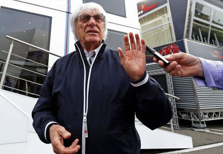 Formula One Chief Executive Ecclestone talks to reporters before the weekend's Belgian F1 Grand Prix in Spa-Francorchamps