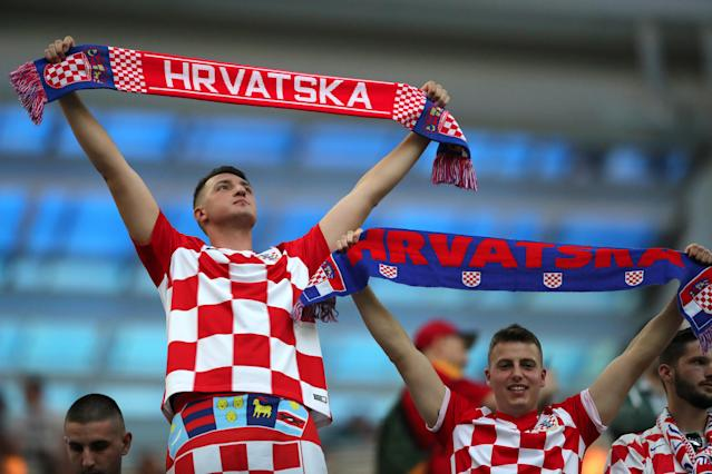 Soccer Football - World Cup - Group D - Argentina vs Croatia - Nizhny Novgorod Stadium, Nizhny Novgorod, Russia - June 21, 2018 Croatia fans inside the stadium before the match REUTERS/Ivan Alvarado