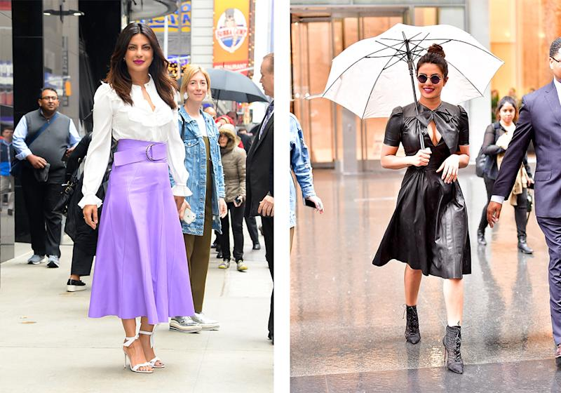 On the left: Priyanka in Roberto Cavalli, on the right in Ralph Lauren. (Photo: Getty Images)