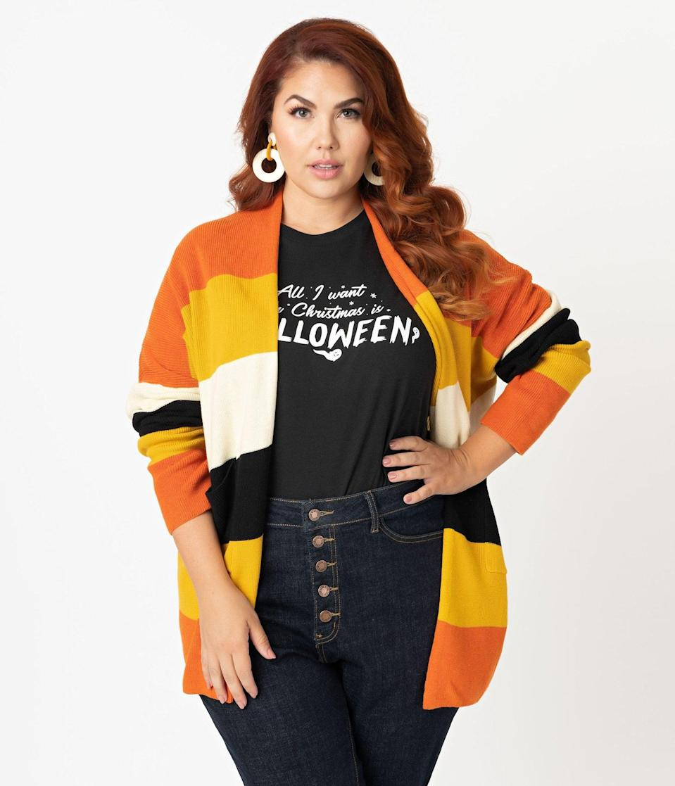 <p>The <span>Plus Size Fall Stripe Open Cotton Knit Cardigan</span> ($58) has all the colors of the fall season. </p>