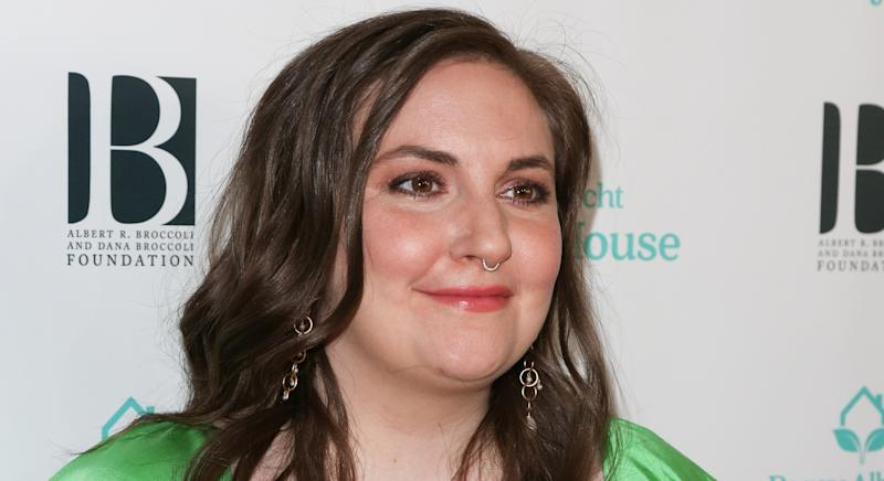 """Lena Dunham has revealed how she was initially worried about her """"insecurities"""" when asked to model in a London Fashion Week show [Image: Getty]"""
