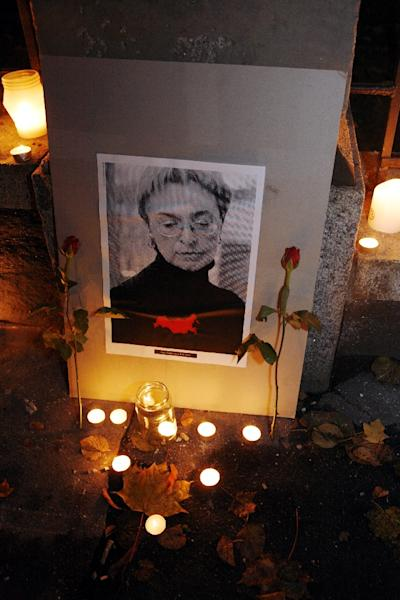 An uncompromising critic of Russia's bloody suppression of its opponents in Chechnya, Anna Politkovskaya was gunned down on October 7, 2006 in the entrance hall of her Moscow apartment block (AFP Photo/Marja Airio)