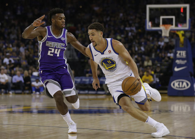 "<a class=""link rapid-noclick-resp"" href=""/nba/teams/gsw/"" data-ylk=""slk:Golden State Warriors"">Golden State Warriors</a> guard <a class=""link rapid-noclick-resp"" href=""/nba/players/4892/"" data-ylk=""slk:Klay Thompson"">Klay Thompson</a> is pledging funds to North Bay wildfire relief efforts. (AP)"
