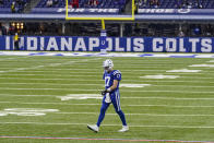 FILE - Indianapolis Colts quarterback Philip Rivers (17) walks back to the huddle after a time out in the second half of an NFL football game against the Houston Texans in Indianapolis, in this Sunday, Dec. 20, 2020, file photo. On Wednesday, Jan. 20, 2021, the 39-year-old Indianapolis Colts quarterback announced his retirement. (AP Photo/Darron Cummings, FIle)