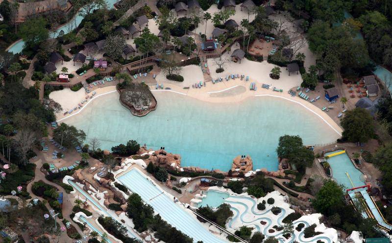 Disney's Blizzard Beach water park is empty of visitors after it closed in an effort to combat the spread of coronavirus disease (COVID-19), in an aerial view in Orlando, Florida, U.S. March 16, 2020. REUTERS/Gregg Newton