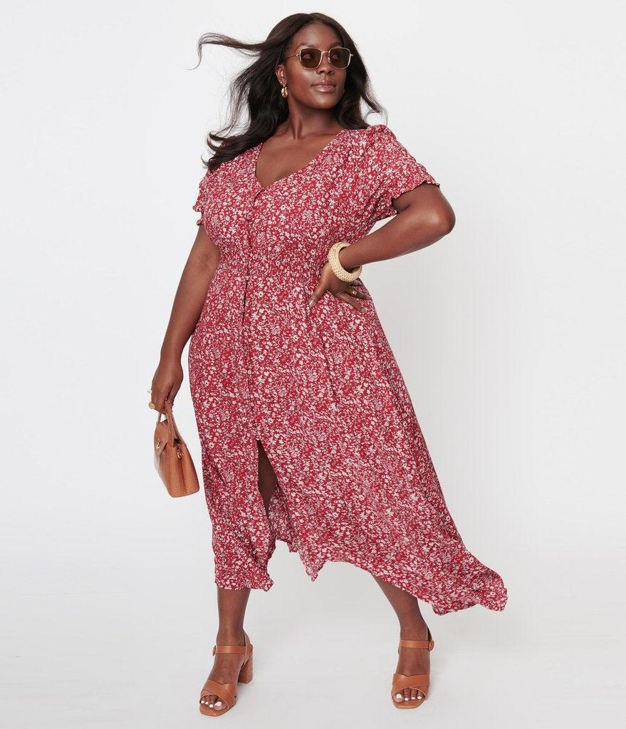 """<h2>Unique Vintage Plus-Size 1970s Red & White Floral Maxi Dress </h2><br>A dress that would look just as good with formal flats or heels as it would with sneakers is a must-have for any wardrobe. If you find yourself needing to transition from more professional environments to casual events, this dress would be the perfect option. <br><br><em>Shop<strong><a href=""""https://www.unique-vintage.com/collections/plus-size/products/plus-size-1970s-red-white-floral-maxi-dress"""" rel=""""nofollow noopener"""" target=""""_blank"""" data-ylk=""""slk:Unique Vintage"""" class=""""link rapid-noclick-resp""""> Unique Vintage</a></strong></em><br><br><strong>Unique Vintage</strong> Plus Size 1970s Red & White Floral Maxi Dress, $, available at <a href=""""https://go.skimresources.com/?id=30283X879131&url=https%3A%2F%2Fwww.unique-vintage.com%2Fcollections%2Fplus-size%2Fproducts%2Fplus-size-1970s-red-white-floral-maxi-dress"""" rel=""""nofollow noopener"""" target=""""_blank"""" data-ylk=""""slk:Unique Vintage"""" class=""""link rapid-noclick-resp"""">Unique Vintage</a>"""