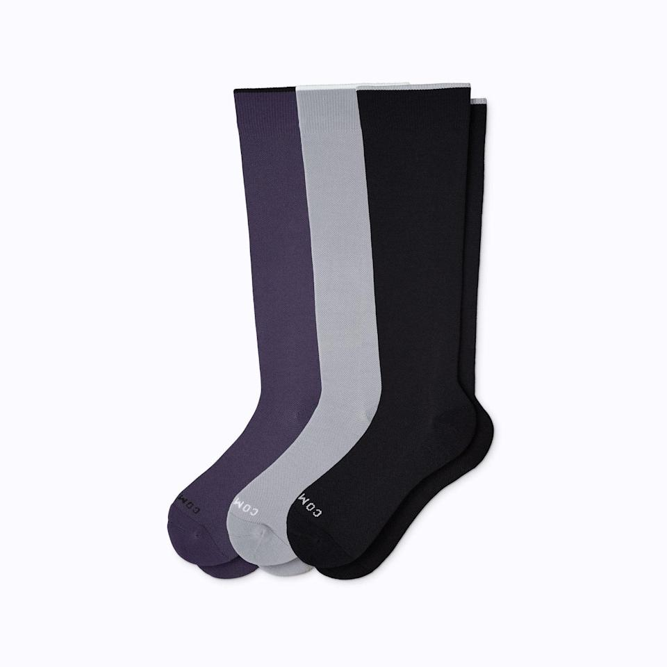 """<h2>Comrad Knee-High Compression Socks<br></h2><br><strong>Under $100<br></strong>This subtle sock trio boasts compressive properties, meaning that they're a great recovery accessory for your active Pa.<br><br><em>Shop <strong><a href=""""https://www.comradsocks.com/"""" rel=""""nofollow noopener"""" target=""""_blank"""" data-ylk=""""slk:Comrad"""" class=""""link rapid-noclick-resp"""">Comrad</a></strong></em><br><br><strong>Comrad</strong> Knee-High Compression Socks, $, available at <a href=""""https://go.skimresources.com/?id=30283X879131&url=https%3A%2F%2Fwww.comradsocks.com%2Fcollections%2Fdads-and-grads%2Fproducts%2Fknee-high-compression-socks-3-pack-solids-mixed%3Fvariant%3D31509575303202"""" rel=""""nofollow noopener"""" target=""""_blank"""" data-ylk=""""slk:Comrad"""" class=""""link rapid-noclick-resp"""">Comrad</a>"""