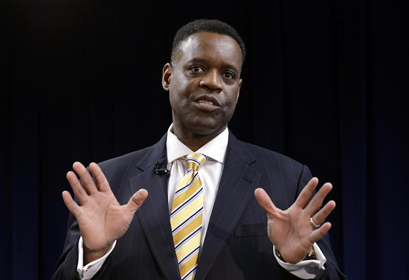 FILE - In this March 14, 2013, file photo state-appointed emergency manager Kevyn Orr speaks in Detroit. Orr on Thursday, July 18, 2013, asked a federal judge permission to place Detroit into Chapter 9 bankruptcy protection. (AP Photo/Paul Sancya)