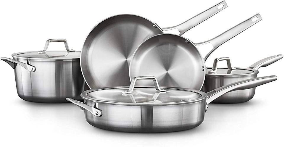 """FromCalphalon, this cookware set cansear, brown and sauté your breakfast, lunch and dinner. It comes with fry pans and a sauce pan.<a href=""""https://amzn.to/3nPNDqi"""" target=""""_blank"""" rel=""""noopener noreferrer"""">Originally $367, get the set now for $222 at Amazon</a>."""